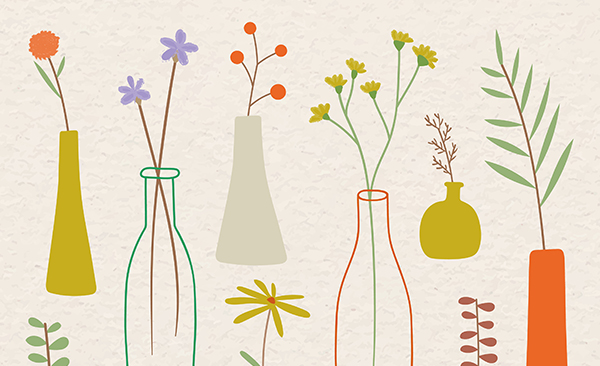 Colorful doodle flowers in vases on beige background vector