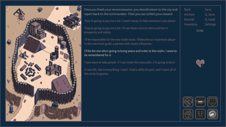 Roadwarden dialogue system image.