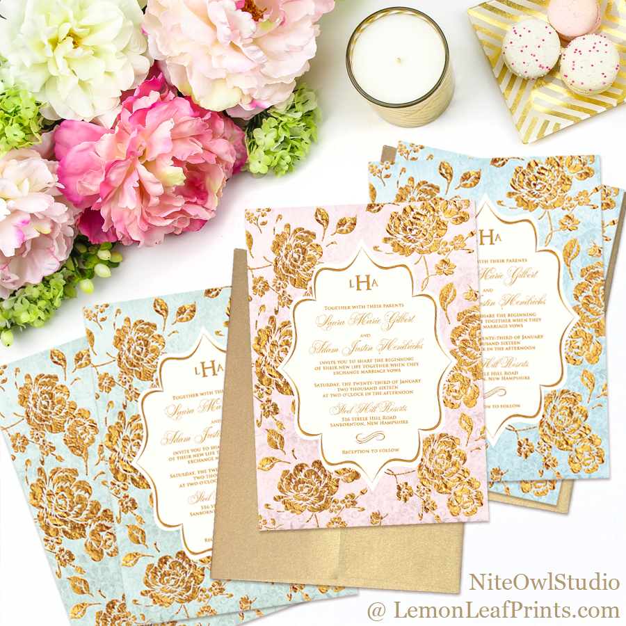 Vintage rose floral monogram wedding invitations in blush pink, blue, or mint paired with gold