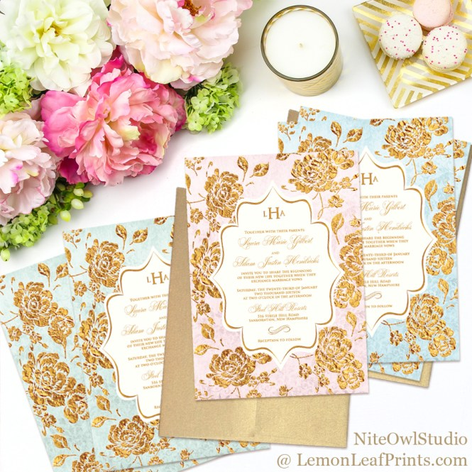 Vintage floral monogram wedding invitations in blush pink, blue, or mint paired with gold