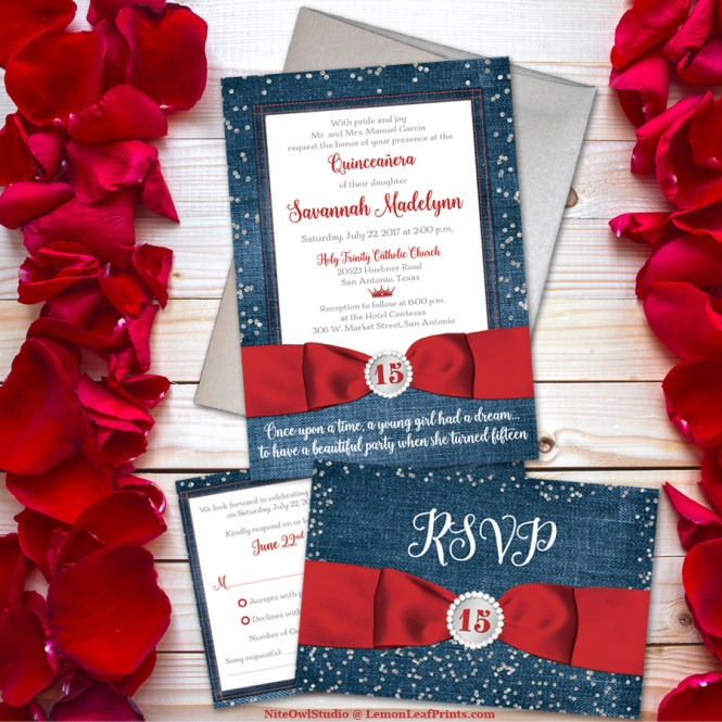 Red denim and diamonds Quinceañera Invitation Set