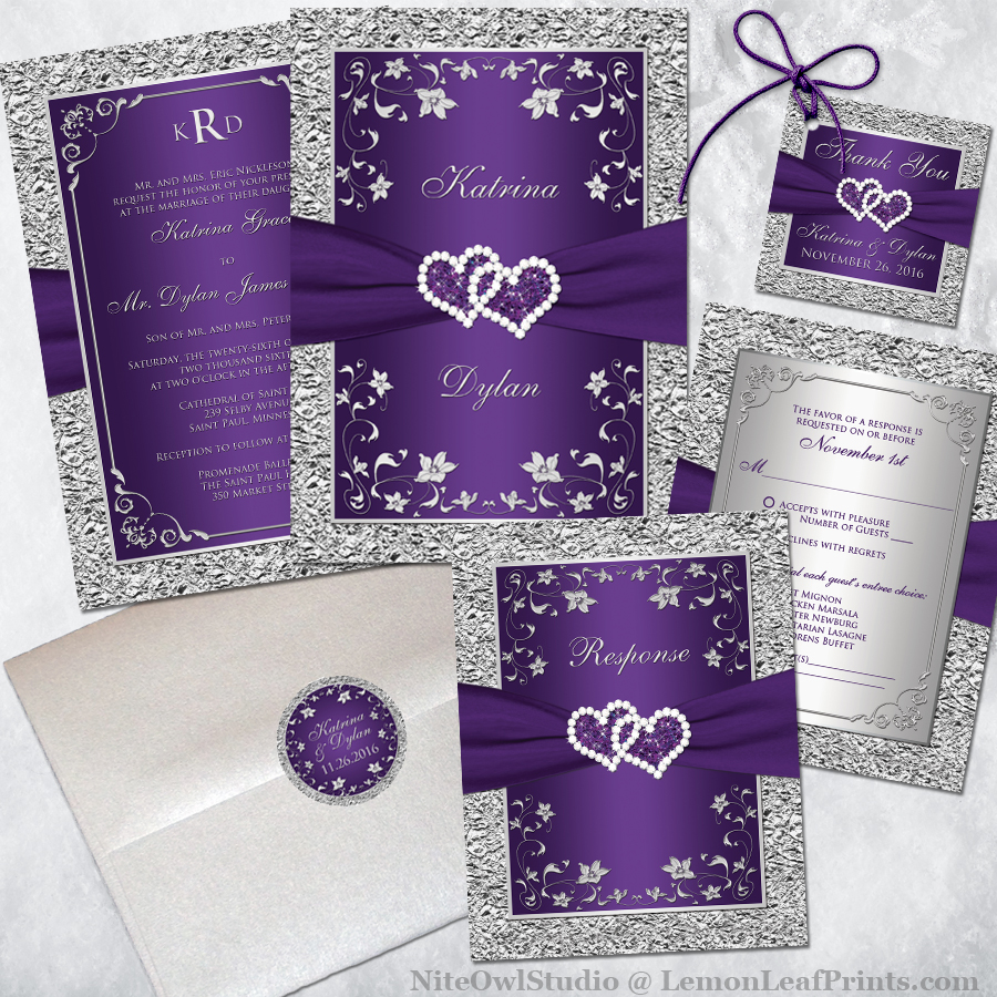 Purple Silver Wedding Invitation Set Joined Hearts Jewel