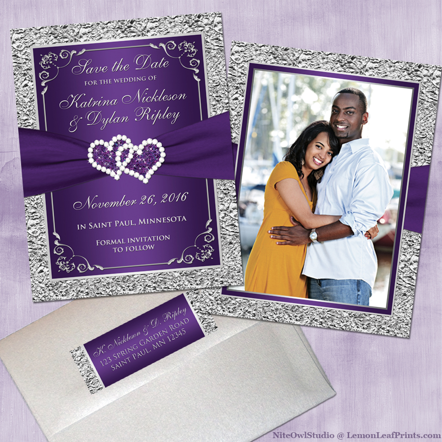 Purple Silver Joined Hearts Jewel Wedding Save the Date Card