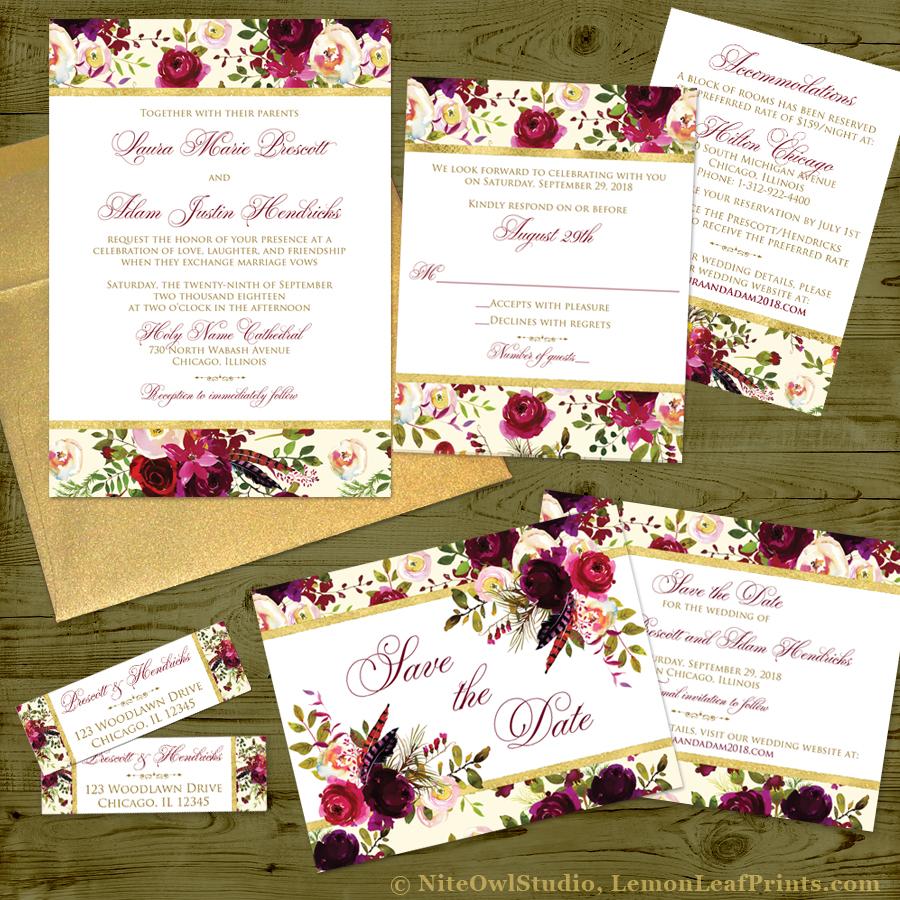 Burlap Leaves Rustic Fall Wedding Invitation Set
