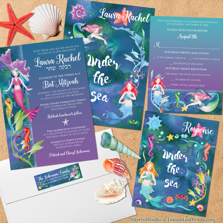 Under the Sea Mermaid Bat Mitzvah Invitation Set