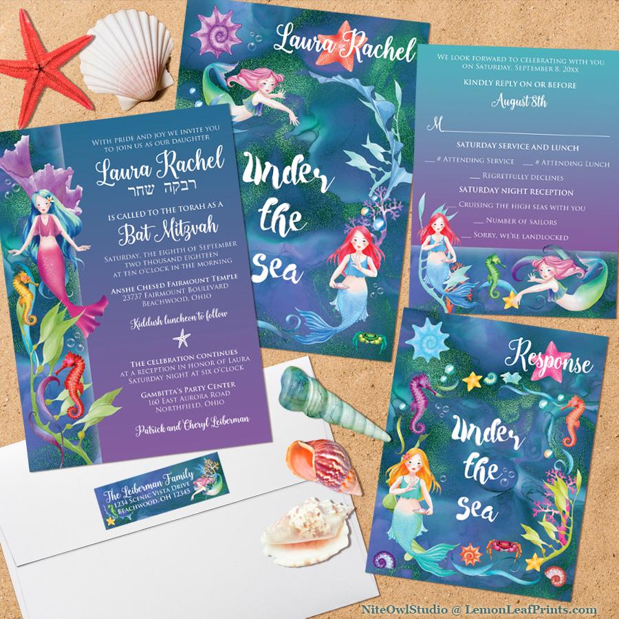 Under the Sea Mermaid Bat Mitzvah Invitation Set