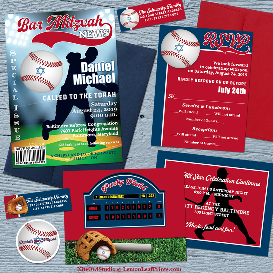 Baseball Softball Bar Mitzvah Invitation Set