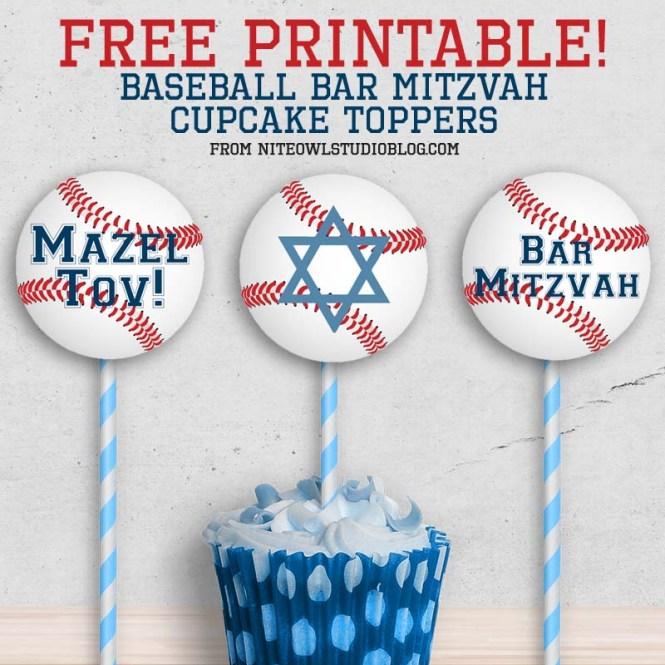 Baseball Softball Mitzvah Cupcake Toppers Free Printable ...