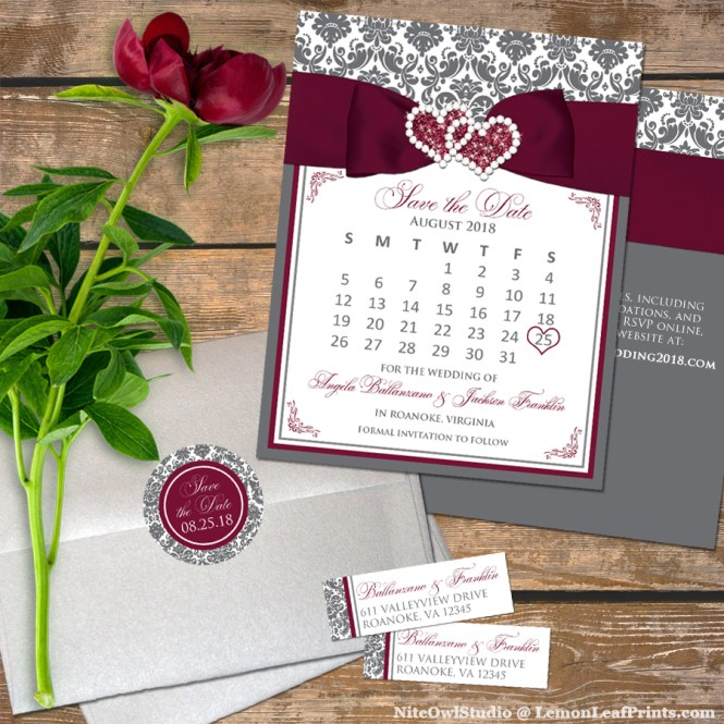 Burgundy Gray Damask Jewel Wedding Save the Date Set