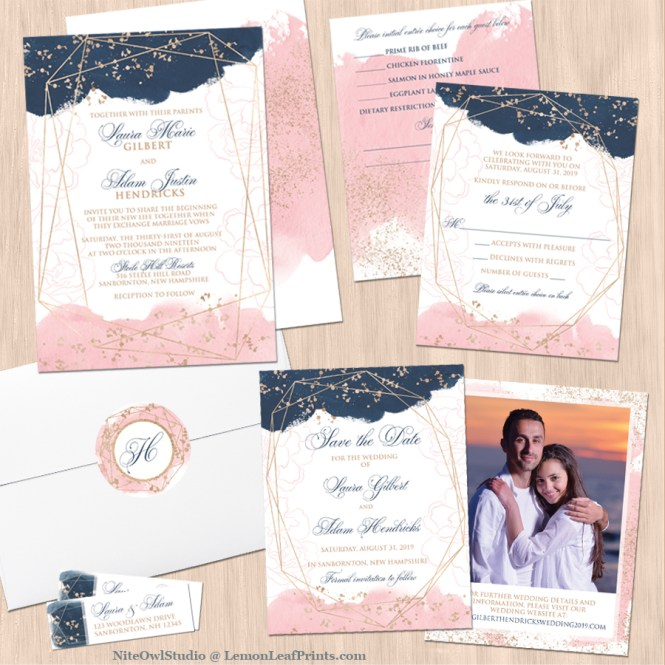 Blush Pink Navy White Geometric Watercolor Wedding Invitation Set