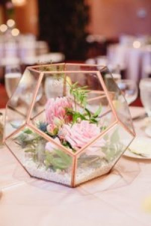 Glass terranium wedding reception table decor