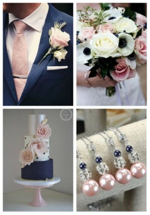 Blush Pink Navy Blue Rose Gold Geometric Shapes And Sprinkles