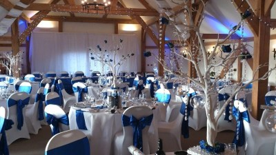 Royal blue and white wedding decor
