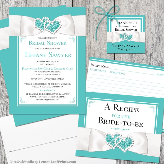 Tiffany blue white ribbon bridal shower invitation set