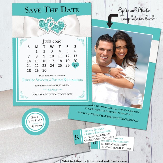 Tiffany inspired turquoise white ribbon jewel wedding save the date card
