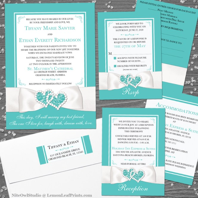 Tiffany inspired Robin's egg blue white ribbon jewel wedding invite set