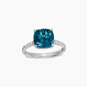 9.0mm Cushion-Cut London Blue Topaz and Diamond Accent Ring in Sterling Silver