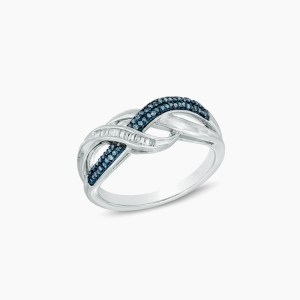 Enhanced Blue and White Diamond Double Infinity Ring in Sterling Silver – Size 7