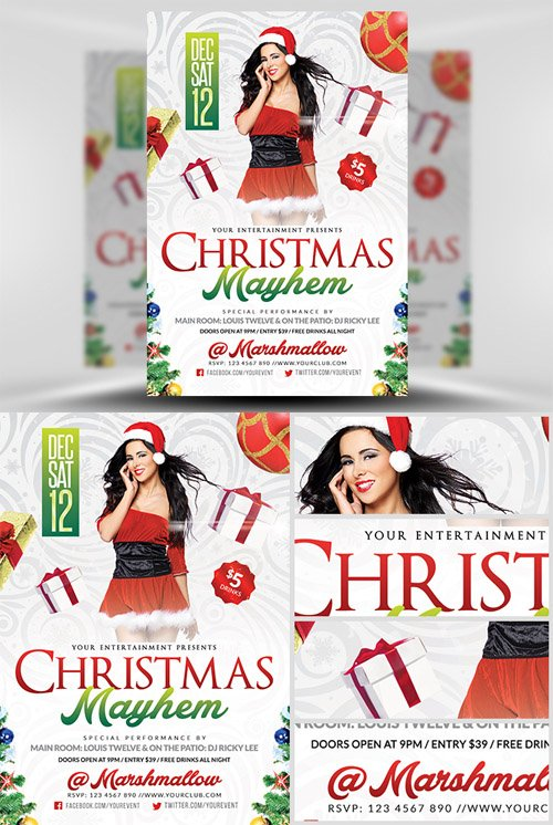 Flyer Template PSD   Christmas Mayhem