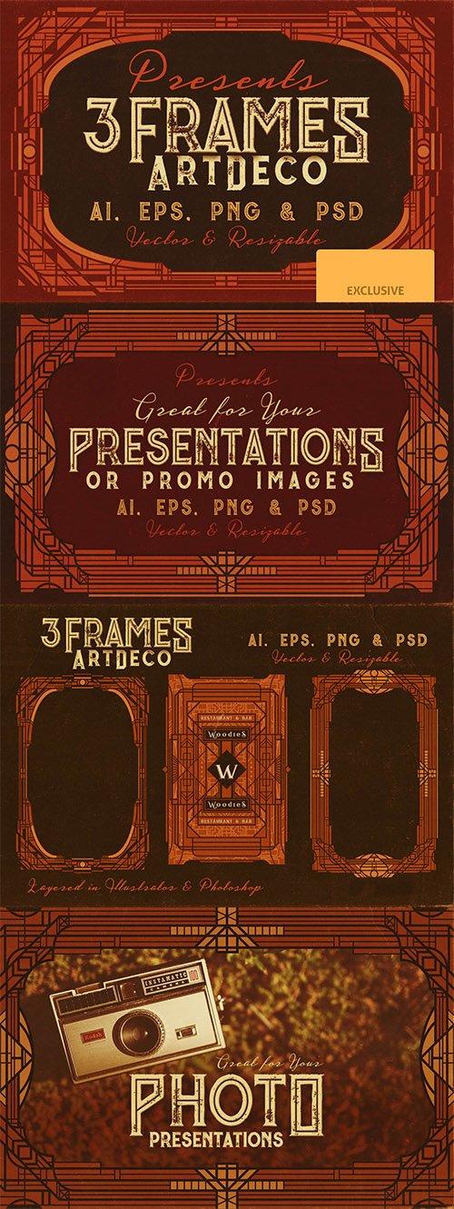 3 Retro/Vintage ArtDeco Style Frames