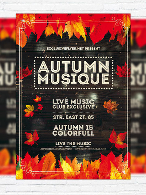 Flyer Template - Autumn Musique + Facebook Cover