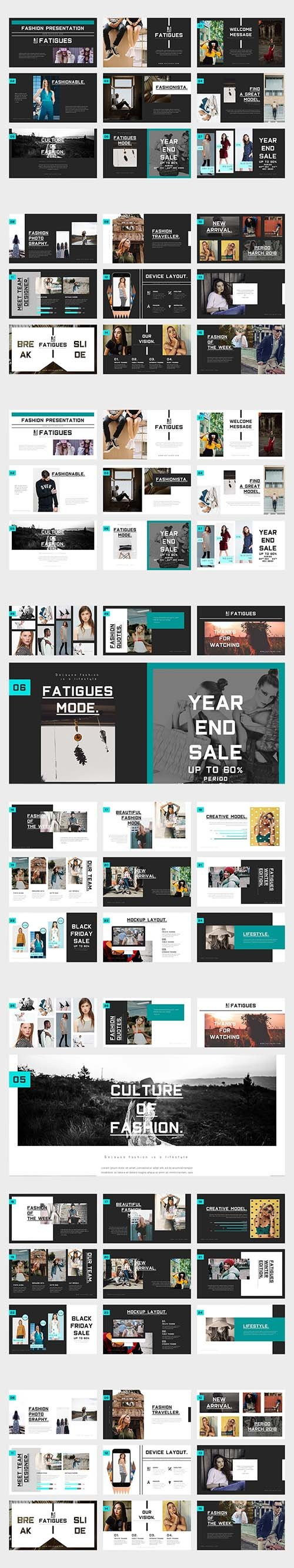 Fatigues Fashion Lookbook Powerpoint Template