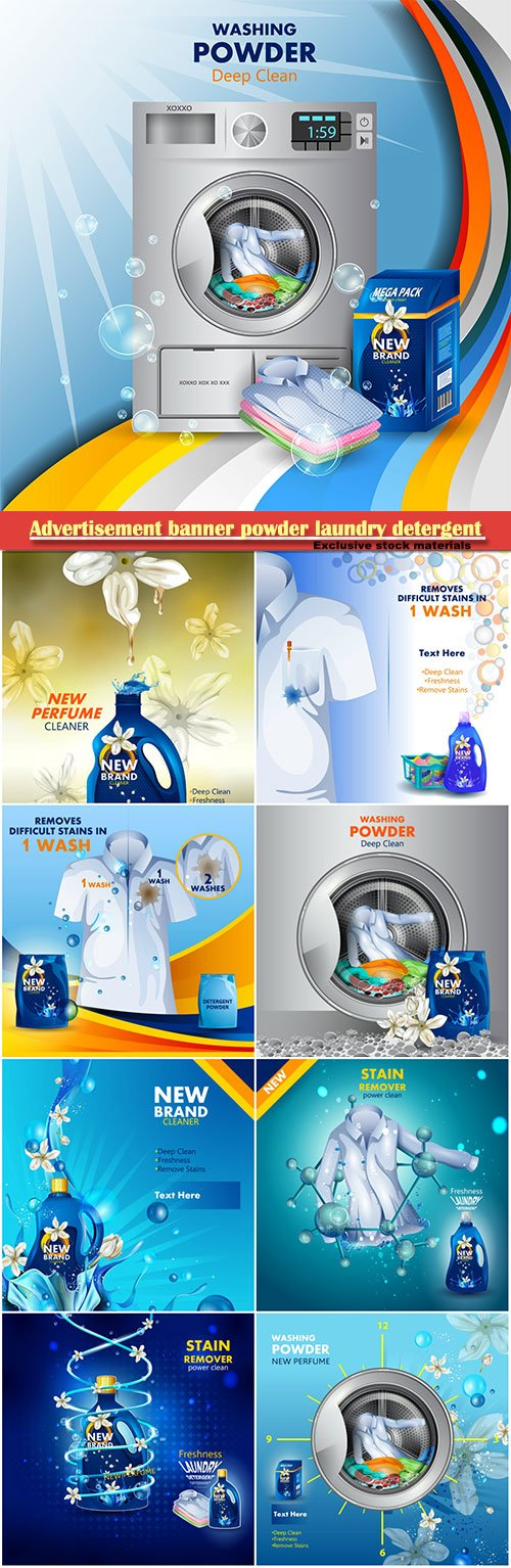 Advertisement banner powder laundry detergent for clean and fresh cloth vector illustration