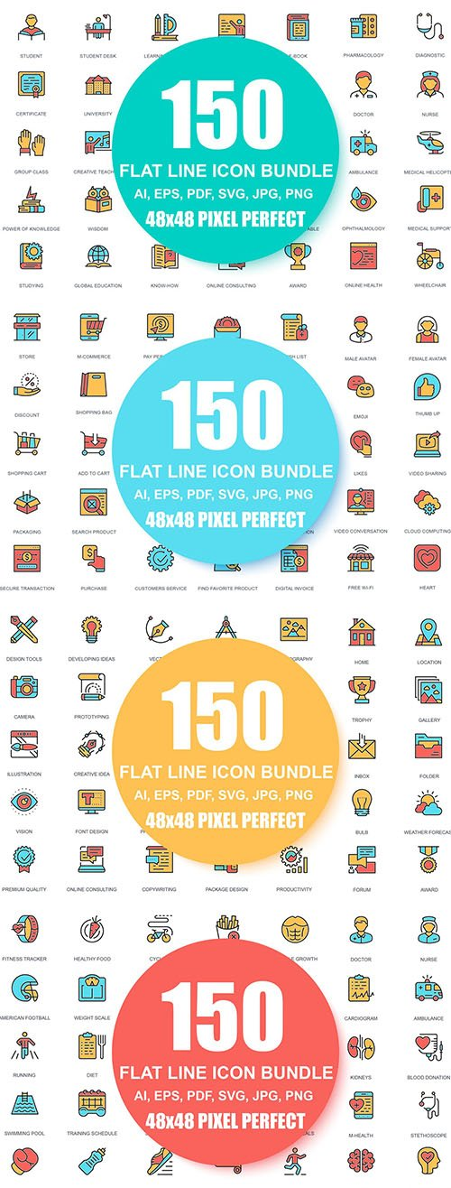 600 Line Icons Linear Pictogram Pack
