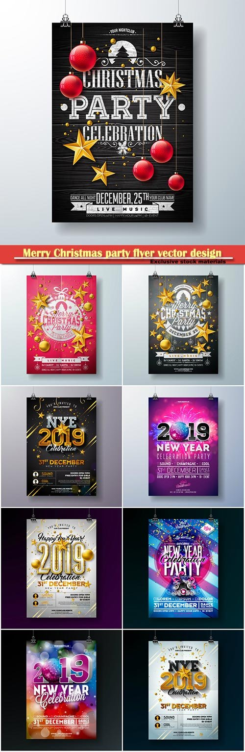 Merry Christmas party flyer vector design