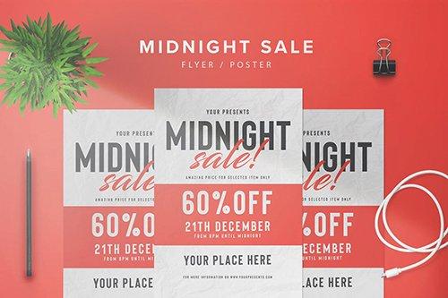 Midnight Sale Flyer PSD