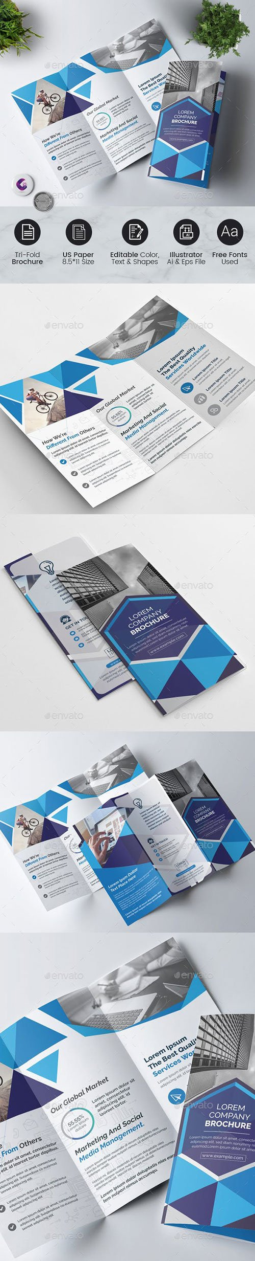 GraphicRiver - Geometric Tri-Fold Brochure 22568846