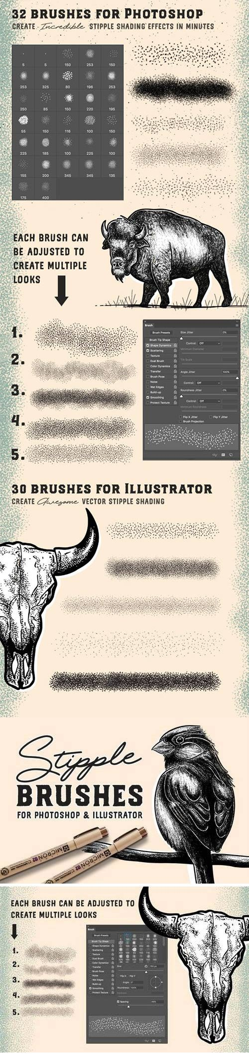 Graphicriver - Stipple Brush Set for Photoshop and Illustrator 22685917