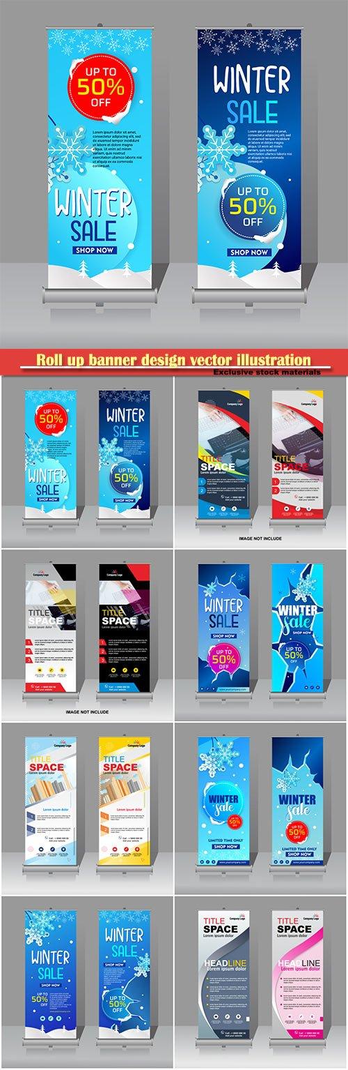 Roll up banner design vector illustration template