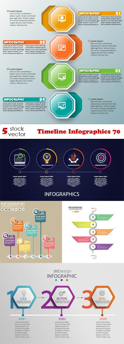 Vectors - Timeline Infographics 70