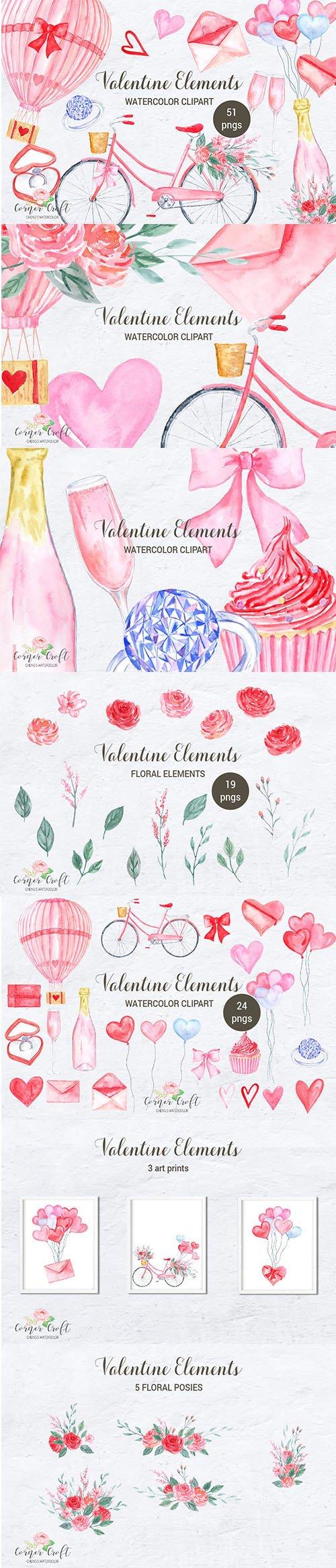 Watercolor Valentine Elements