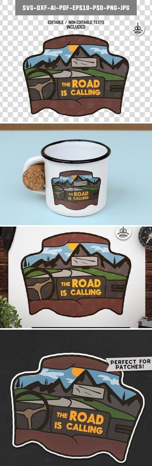Road Trip Badge / Vintage Travel Logo Camp Patch
