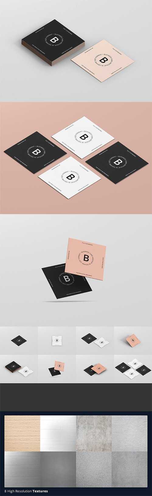 Business Card Mockup Square Format PSD