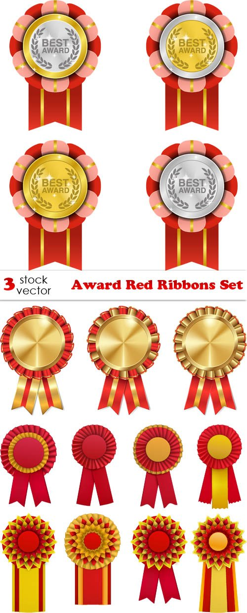 Vectors - Award Red Ribbons Set
