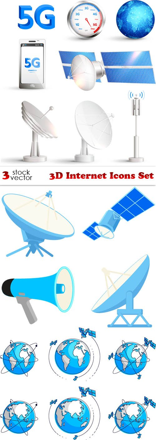 Vectors - 3D Internet Icons Set