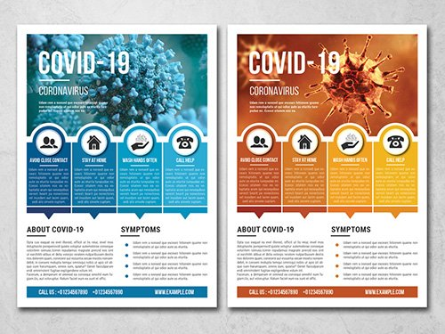 Coronavirus Flyer Layout with Blue and Orange Accents 333008770