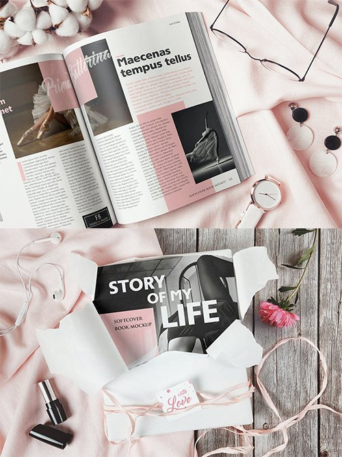 Softcover Book Flat Lay Mockup