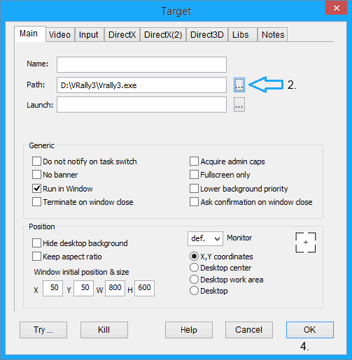 Force window mode in games - settings page of DxWnd