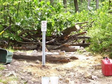 As you look up from the Overlook, you can see another Trail Closed sign as well as limbs and logs that are currently blocking the trail.