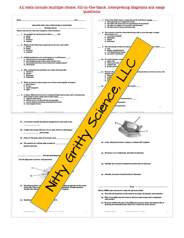 2346947 Page 6 - Cell Structure and Function: Life Science Notes, PowerPoint and Test ~ EDITABLE!