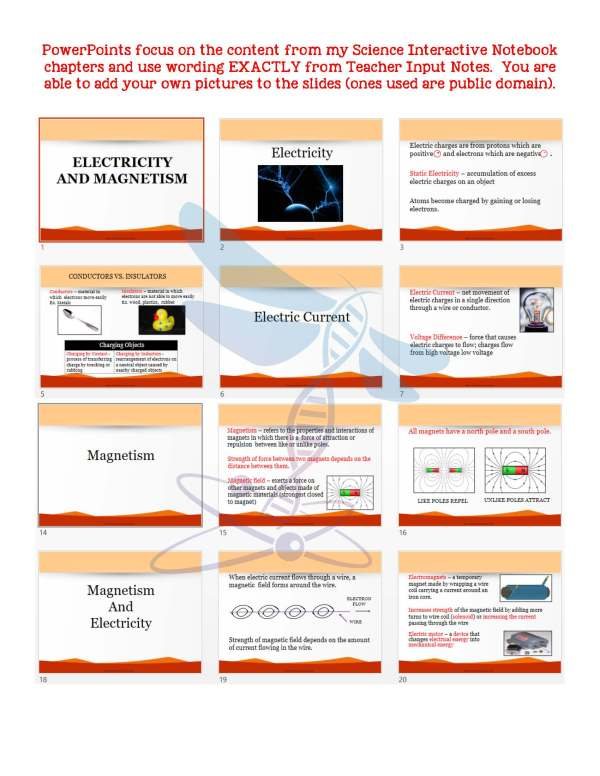 2411412 Page 5 - Electricity and Magnetism: Physical Science Notes, PowerPoint & Test ~ EDITABLE