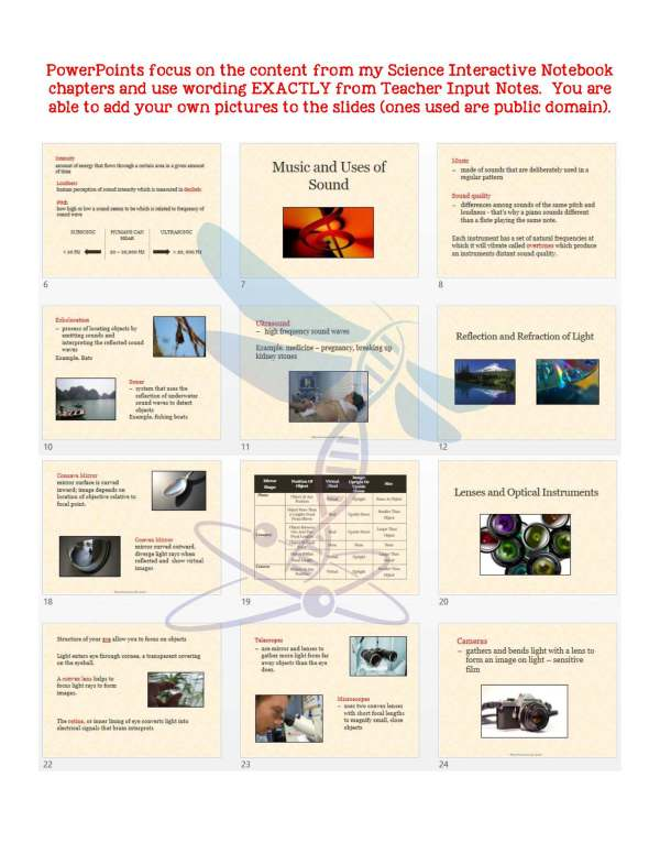 2414382 Page 5 - Sound, Light, Mirrors & Lenses: PS Notes, PowerPoint & Test ~ EDITABLE