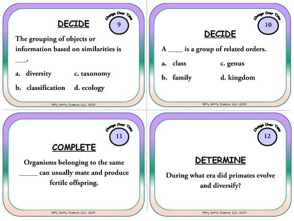 Change Over Time Page 05 - Change Over Time & Classification - Life Science Task Cards