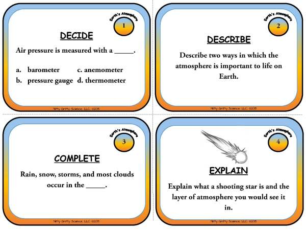 Earths Atmosphere Page 03 - Earth's Changing Surface: Earth Science Task Cards