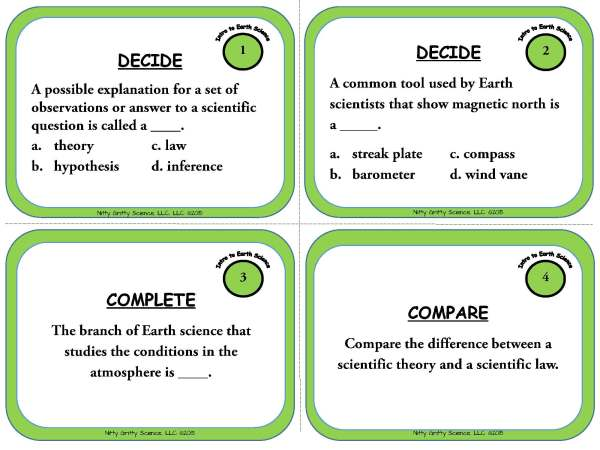 Intro to Earth Science Page 03 - Intro to Earth Science: Earth Science Task Cards