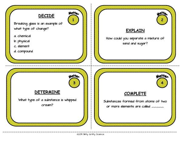 Matter Page 03 - Matter: Physical Science Task Cards